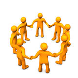 Circle of figures. Illustration of bright yellow figures holding hands Royalty Free Stock Photo