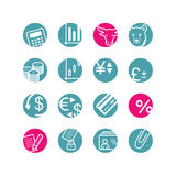 Circle finance icons. Blue and pink Royalty Free Stock Photos