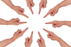 Circle of fingers point to the center Stock Photos