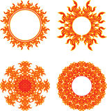 Circle of fire. Set of round fiery symbols of the sun Royalty Free Stock Images
