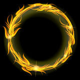 Circle of fire. Red and yellow circle of fire over black Royalty Free Stock Image