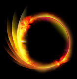 Circle Fire Ball on Black Background. A circle fire ball is on a black background and there are lines coming out of the side. Can be used as an energy or space Royalty Free Stock Photos
