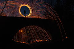 Circle of fire. Sparkling with steel wool Royalty Free Stock Photo