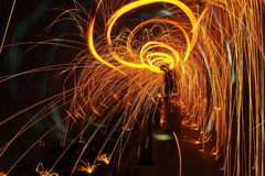 Circle of fire. Sparkling with steel wool Royalty Free Stock Photography