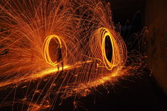 Circle of fire. Sparkling with steel wool Stock Photos
