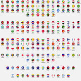 Circle flags of the world. All sovereign states recognized by UN, collection, listed alphabetically by continents, eps 10 stock illustration