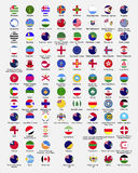 Circle flags of the world. Dependencies, provinces, islands, territories, disputed territories, regions, non recognized by UN, self proclaimed, collection, eps stock illustration
