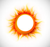 Circle with flame. Bright orange circle with flame. Abstract illustration Stock Images