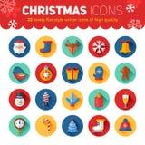 Circle flat Christmas and New Year icons set with Santa, deer Stock Photo