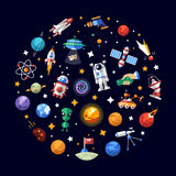 Circle flat design composition of space icons and. Circle vector flat design composition of space icons and infographics elements Stock Image