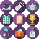 Circle flat icons for golf Royalty Free Stock Photos