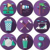 Circle flat icons for golf Royalty Free Stock Photography