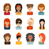 Circle of flat icons on white background. Woman character. Illustration, vector illustration, web userpic, people avatars Stock Illustration