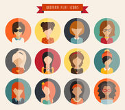 Circle of flat icons. Woman, vector illustration Royalty Free Stock Photography