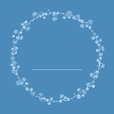 Circle flora and butterfly line art illustration with dot line. Blue color theme. Royalty Free Stock Images
