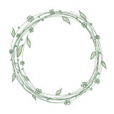 Circle flora decoration frame template background in line art drawing. Royalty Free Stock Image