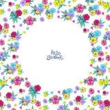 Circle floral frame Stock Image