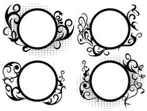 Circle floral frame decoration Stock Images