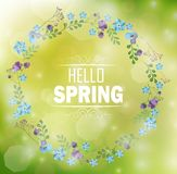 Circle floral frame with text hello spring and bokeh background. Illustration of Circle floral frame with text hello spring and bokeh background royalty free illustration