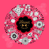 Circle floral wreath design Stock Image