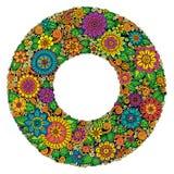 Circle flower ornament, ornamental round lace design. Floral mandala. Stock Image