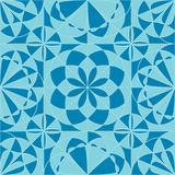 Circle flower ray symmetry seamless pattern. This illustration is design and drawing symmetry flower circle with square style in blue colors theme seamless Royalty Free Stock Image