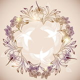 Circle of flowers and birds Royalty Free Stock Images