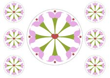 Circle flowers cilpart cut and paste stock illustration