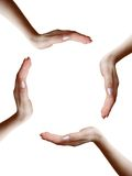 Circle of four hands. On white background Stock Photo