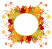 Circle Frame With Autumn Leaves Stock Photos