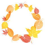Circle frame of autumn leaves. By watercolor paint Royalty Free Stock Image