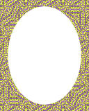 Circle Frame Background with Decorated Ornate Borders. White circle frame background with decorated ornate design borders Royalty Free Stock Photo