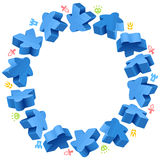 Circle frame of blue meeples Stock Photography