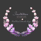 Circle frame, border, wreath with watercolor tender flowers and leaves in purple and pink shades. Hand drawn on a dark background, for invitation, card Stock Photo