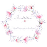 Circle frame, border, wreath with watercolor tender flowers and leaves in purple and pink shades Royalty Free Stock Photos
