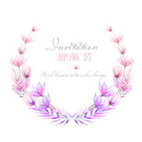 Circle frame, border, wreath with watercolor tender flowers and leaves in purple and pink shades Royalty Free Stock Image