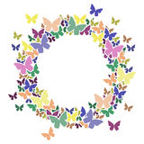 Circle frame with butterflies for your text. Stock Photo