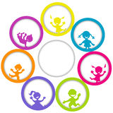 Circle frame with children and place for your text Stock Images