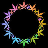 Circle frame of colorful leaves isolated on black. Leaves in rainbow colors. Copy space stock photography