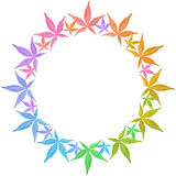 Circle frame of colorful leaves isolated on white. Leaves in rainbow colors. Copy space Stock Image