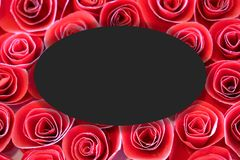 Circle frame, Creative layout made Beautiful bloom paper red rose background with paper card note. stock illustration