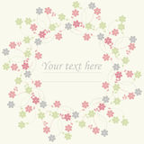 Circle frame with cute spring flowers Royalty Free Stock Photos