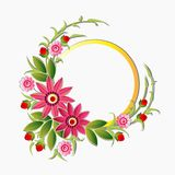 Circle Frame Decorated With Flowers, Floral Background Decoration Design Stock Photography
