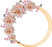 Circle frame decorated by light rose flowers Stock Photography