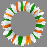 Wreath made of green, orange and white petals. Circle frame, decorated with petals in colors of Ireland, Cyprus, India flags. Wreath made of green, orange and stock image