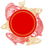 Circle frame with decorative fish. Image for design on t-shirts, prints, decorations brochures and websites Royalty Free Stock Image