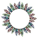 Feathers circle frame background. Circle frame with different color feathers isolated on white background stock illustration