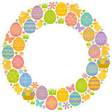 Circle frame with Easter eggs, bunnies and chicks. Stock Image