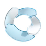Circle frame emblem tag made of four glossy arrows Stock Photography