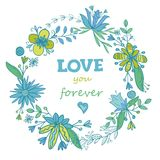 Circle frame with floral design Stock Photography